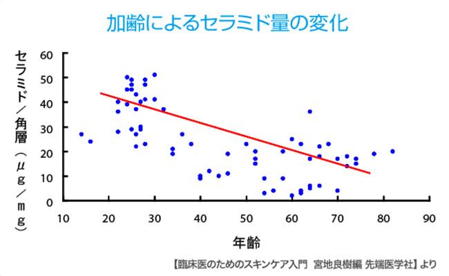 加齢によるセラミド量の変化グラフ